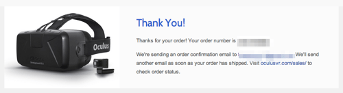 Thank You Pre order The Oculus Developer Kit
