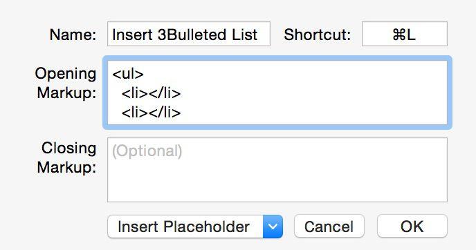 Insert 3 Bulleted List