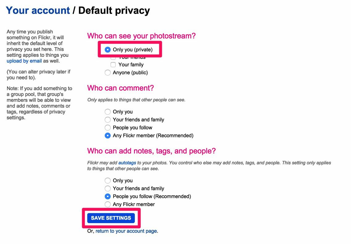 Flickr Default Privacy Settings