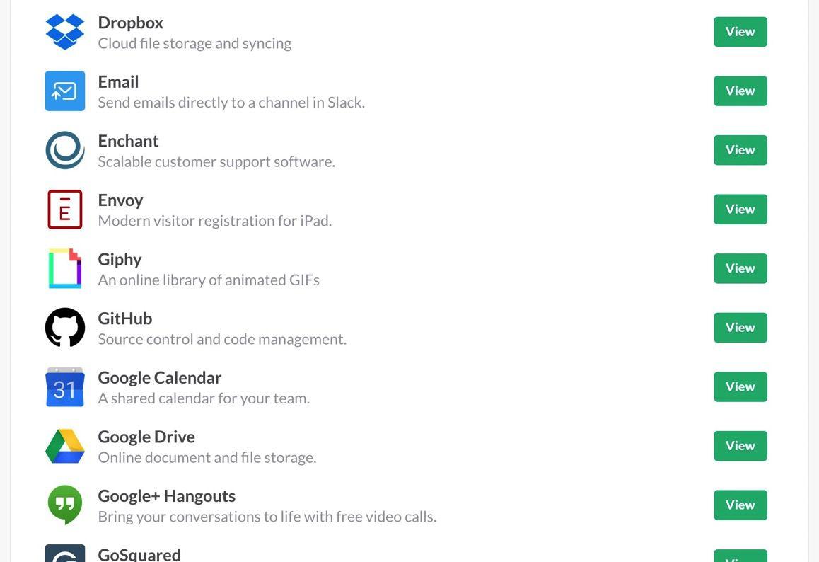 SlackのIntegrations一覧