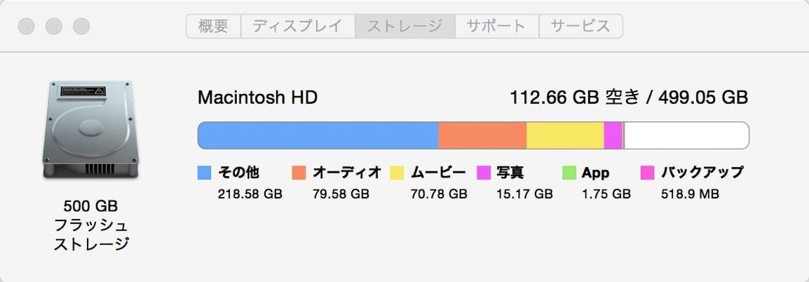 Macのストレージに出てる「その他」が何かを特定してHDD・SSDの空き容量を増やす方法